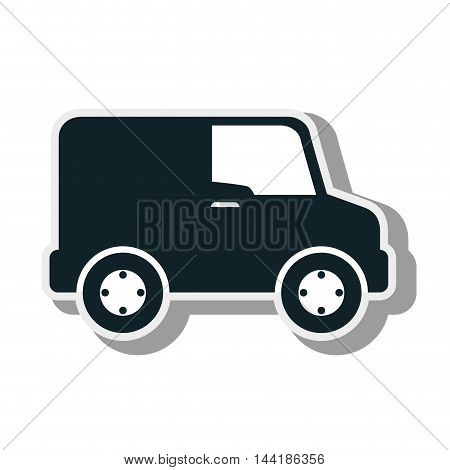 van vehicle cargo delivery distribution service silhouette vector illustration