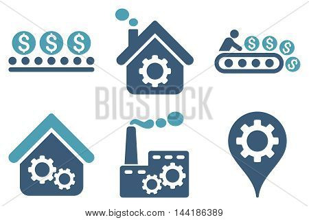 Industrial Production vector icons. Pictogram style is bicolor cyan and blue flat icons with rounded angles on a white background.