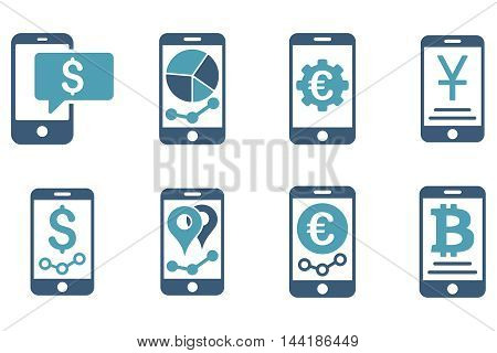Mobile Sales Report vector icons. Pictogram style is bicolor cyan and blue flat icons with rounded angles on a white background.