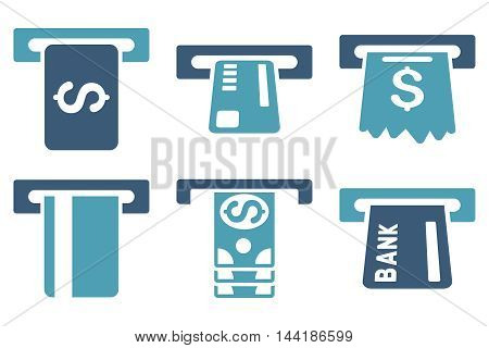 Pay Box vector icons. Pictogram style is bicolor cyan and blue flat icons with rounded angles on a white background.