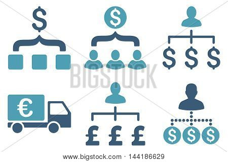 Payment Collector vector icons. Pictogram style is bicolor cyan and blue flat icons with rounded angles on a white background.
