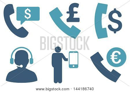 Phone Order vector icons. Pictogram style is bicolor cyan and blue flat icons with rounded angles on a white background.