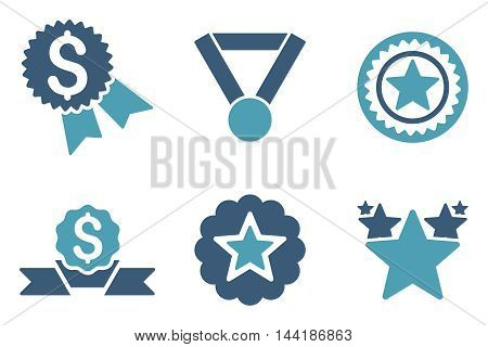 Reward vector icons. Pictogram style is bicolor cyan and blue flat icons with rounded angles on a white background.