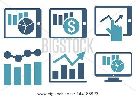 Sales Charts vector icons. Pictogram style is bicolor cyan and blue flat icons with rounded angles on a white background.