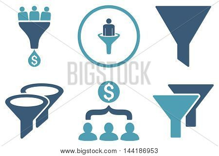 Sales Filter vector icons. Pictogram style is bicolor cyan and blue flat icons with rounded angles on a white background.