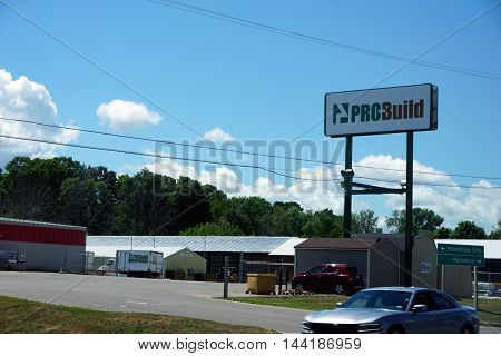 PETOSKEY, MICHIGAN / UNITED STATES - AUGUST 2, 2016: One buy construction materials, including lumber, roofing, cabinets, doors and windows, at ProBuild in Petoskey.