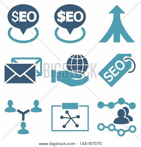 Seo vector icons. Pictogram style is bicolor cyan and blue flat icons with rounded angles on a white background.