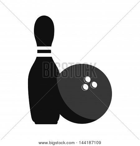 bowling sport game pin and ball element activity vector illustration