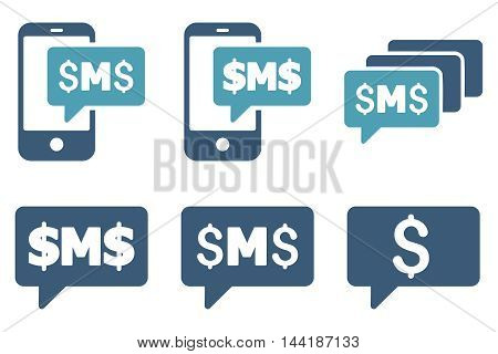 SMS Messages vector icons. Pictogram style is bicolor cyan and blue flat icons with rounded angles on a white background.