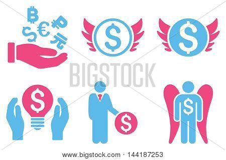 Angel Investor vector icons. Pictogram style is bicolor pink and blue flat icons with rounded angles on a white background.