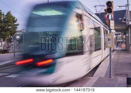BARCELONA SPAIN - JULY 27 2016: Barcelona tram in motion. The tram is going through the Diagonal avenue
