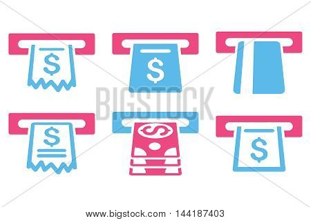 Automated Cashier vector icons. Pictogram style is bicolor pink and blue flat icons with rounded angles on a white background.