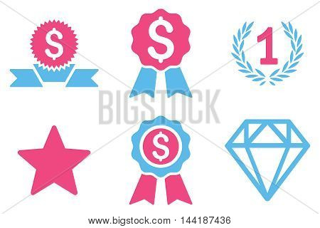 Award vector icons. Pictogram style is bicolor pink and blue flat icons with rounded angles on a white background.