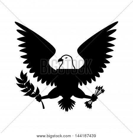 eagle bird wings animal insignia emblem vector illustration