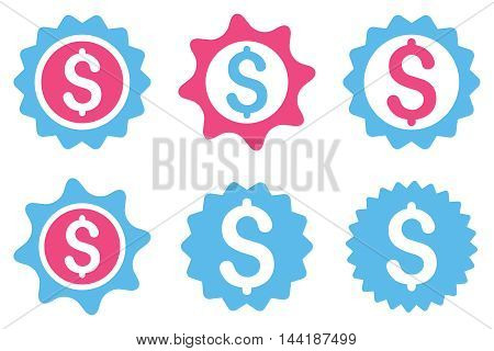Bank Seal vector icons. Pictogram style is bicolor pink and blue flat icons with rounded angles on a white background.