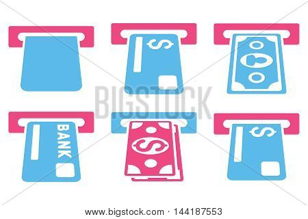 Banking ATM vector icons. Pictogram style is bicolor pink and blue flat icons with rounded angles on a white background.