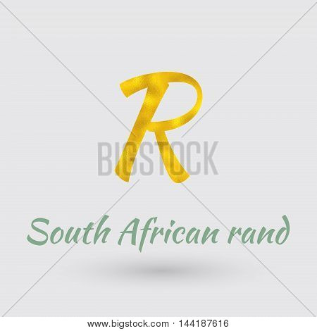 Symbol of the South African Rand currency with Golden Texture.Vector EPS 10
