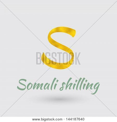 Symbol of the Somali Currency with Golden Texture.Vector EPS 10