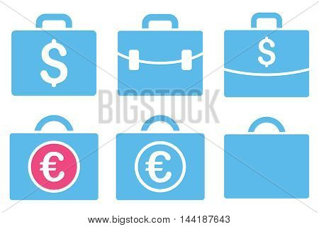Business Case vector icons. Pictogram style is bicolor pink and blue flat icons with rounded angles on a white background.