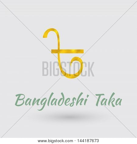 Symbol of the Bangladesh Currency with Golden Texture.Vector EPS 10