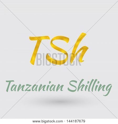 Symbol of the Tanzania Currency with Golden Texture.Vector EPS 10