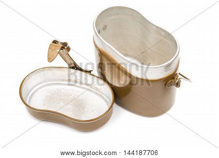 iron Military mess kit on white background