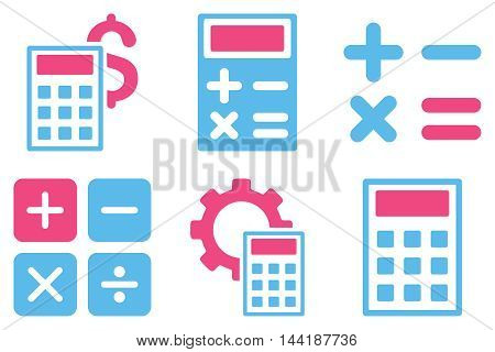 Calculator vector icons. Pictogram style is bicolor pink and blue flat icons with rounded angles on a white background.