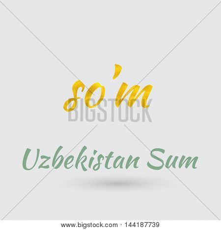 Symbol of the Uzbekistan Currency with Golden Texture.Vector EPS 10