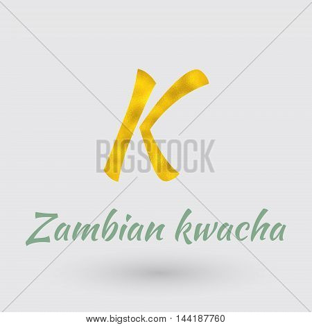 Symbol of the Zambia Currency with Golden Texture.Vector EPS 10