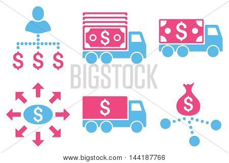 Cash Delivery vector icons. Pictogram style is bicolor pink and blue flat icons with rounded angles on a white background.