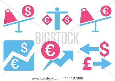 Currency Trading vector icons. Pictogram style is bicolor pink and blue flat icons with rounded angles on a white background.