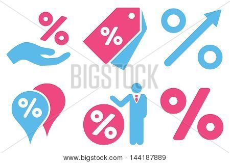 Discount Percent vector icons. Pictogram style is bicolor pink and blue flat icons with rounded angles on a white background.