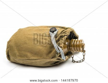 military iron  flask on a white background