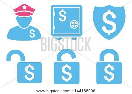 Financial Guard vector icons. Pictogram style is bicolor pink and blue flat icons with rounded angles on a white background.