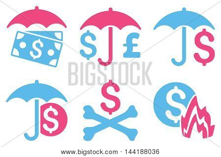 Financial Umbrella vector icons. Pictogram style is bicolor pink and blue flat icons with rounded angles on a white background.