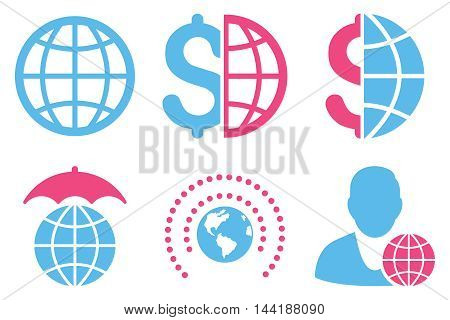 Global Business vector icons. Pictogram style is bicolor pink and blue flat icons with rounded angles on a white background.