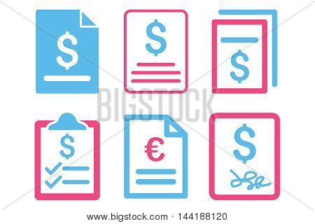Invoice vector icons. Pictogram style is bicolor pink and blue flat icons with rounded angles on a white background.