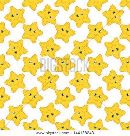 Vector seamless pattern with  cartoon yellow stars