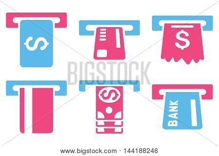 Pay Box vector icons. Pictogram style is bicolor pink and blue flat icons with rounded angles on a white background.