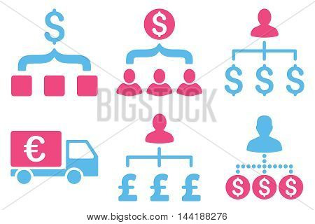 Payment Collector vector icons. Pictogram style is bicolor pink and blue flat icons with rounded angles on a white background.