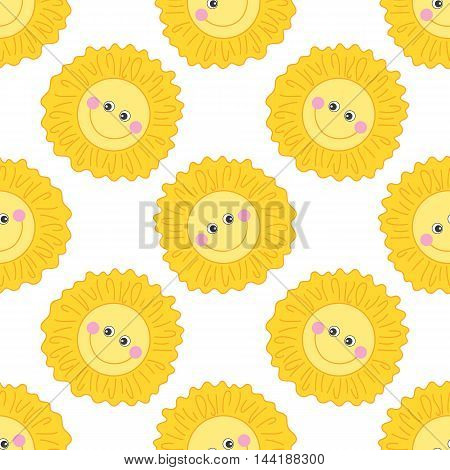 Vector seamless pattern with cartoon smiling sun