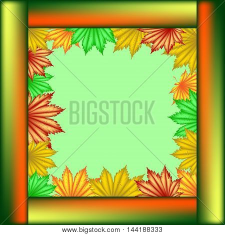 Postcard School of maple leaves. Frame made of wooden planks and maple leaves on a light green background.