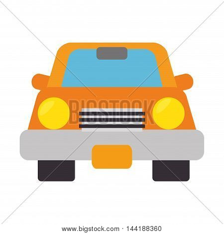 yellow car vehicle transportation automobile front view vector illustration