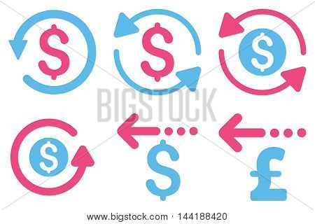 Refund vector icons. Pictogram style is bicolor pink and blue flat icons with rounded angles on a white background.