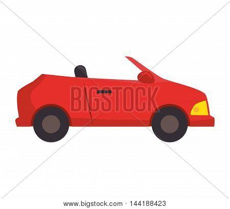 red sport car vehicle transportation automobile side view vector illustration
