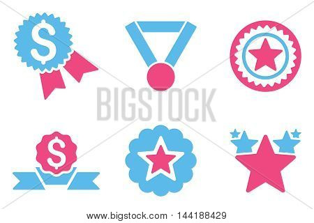 Reward vector icons. Pictogram style is bicolor pink and blue flat icons with rounded angles on a white background.