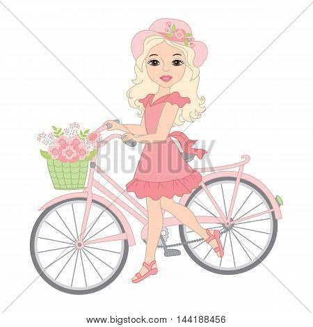 Vector beautiful blond girl with bicycle, floral wreath and flowers