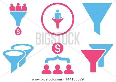 Sales Filter vector icons. Pictogram style is bicolor pink and blue flat icons with rounded angles on a white background.