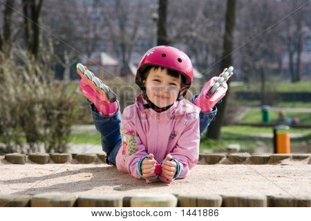 Happy Girl With Skates