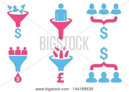 Sales Funnel vector icons. Pictogram style is bicolor pink and blue flat icons with rounded angles on a white background.